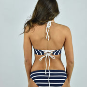 Marine Stripe Lace Back Bikini Top