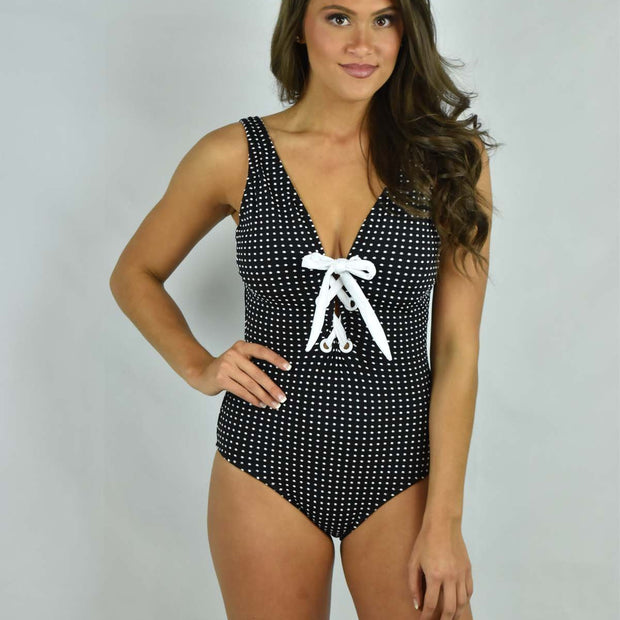 Graphic 2-Tone Lace Up One Piece