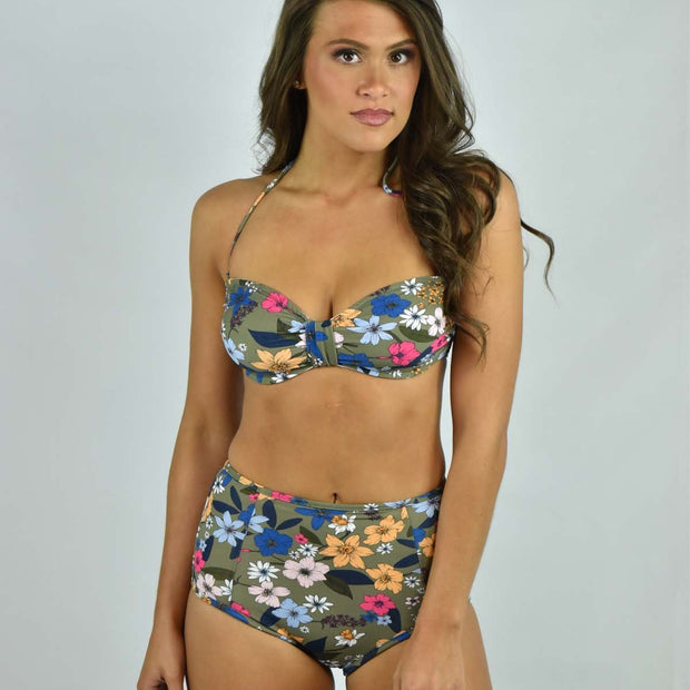Punchy Floral High Waisted Bikini Bottom