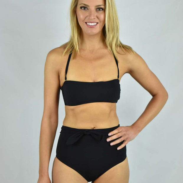 Solid Tie High-Waisted Bikini Bottom