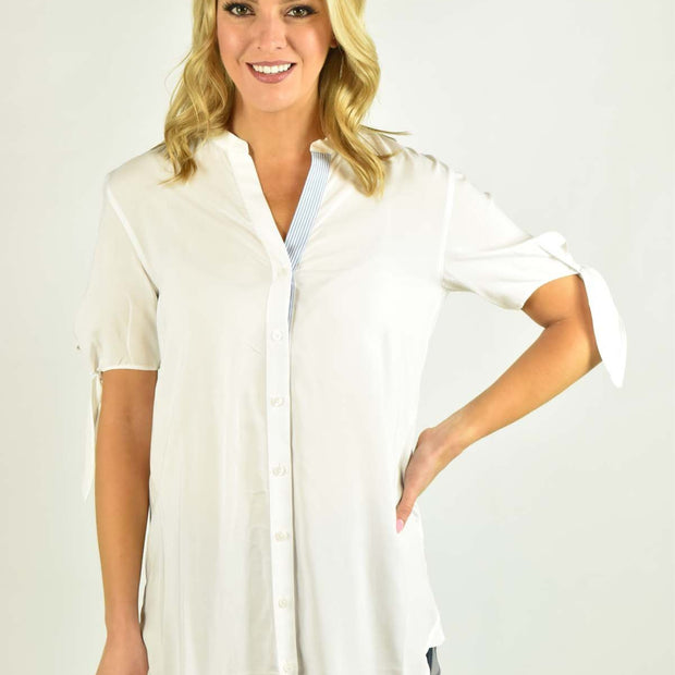 Bow Sleeve Button Up