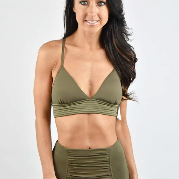 Solid Quilted Fixed Tri Bikini Top