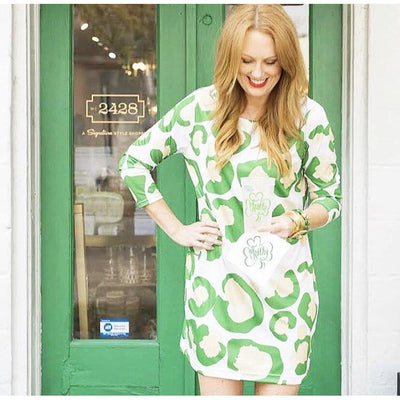 Green Spot Cheetah Dock Dress