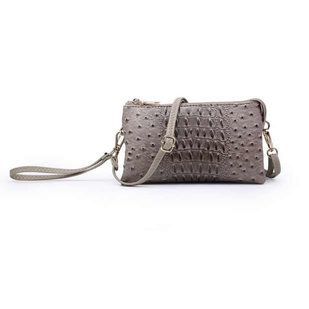 Monogram Ready 3 Compartment Wristlet/Crossbody in Faux Croc/Ostrich