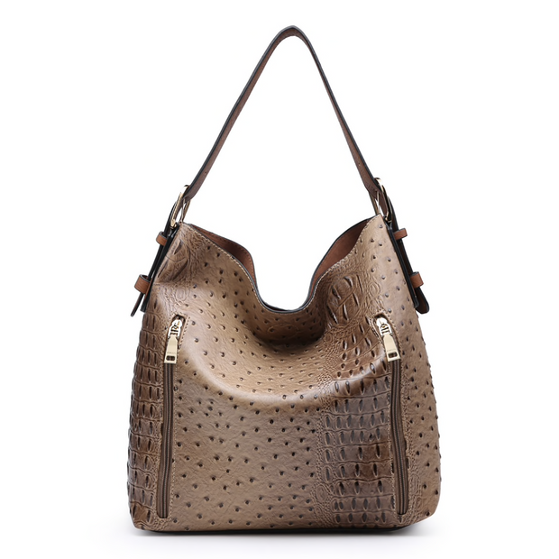 Ostrich Croc 2 in 1 Hobo Bag