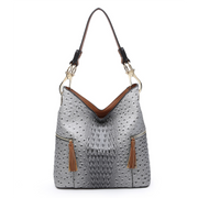 Ostrich/Croc Tassel Zip Hobo Bag