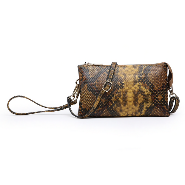 Python Monogrammable 3 Compartment Wristlet Crossbody