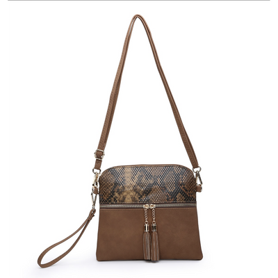 Python Monogrammable Tassel Zip Crossbody