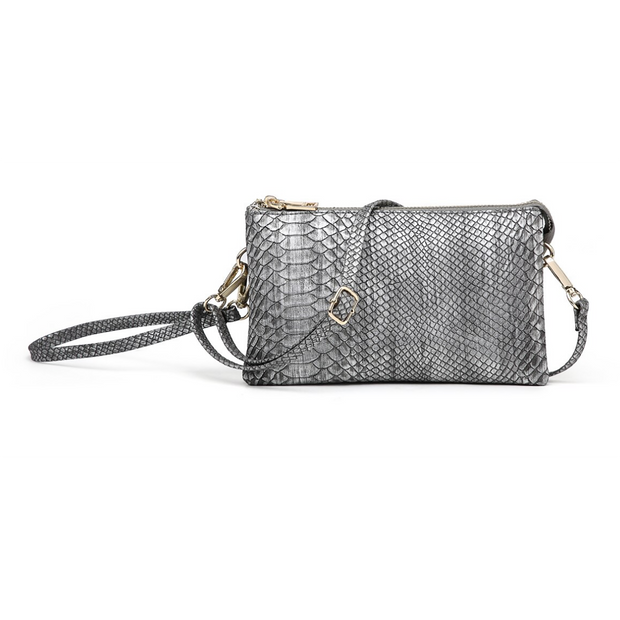 Snakeskin Monogrammable 3 Compartment Wristlet Crossbody