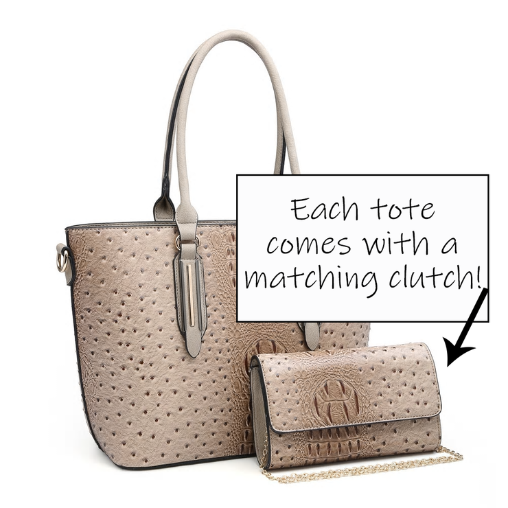 Croc/Ost. Dual Handle Fashion Handbag - 2 in 1