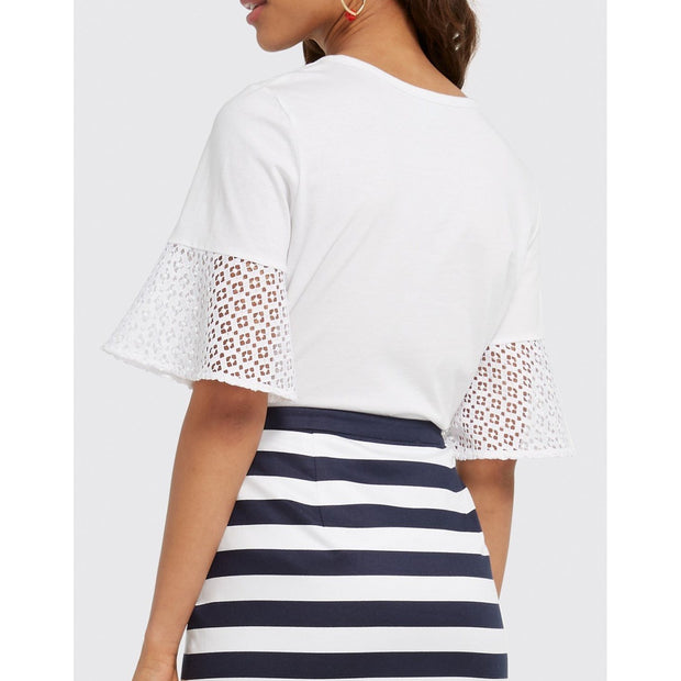 Solid Lattice Bell Sleeve Top