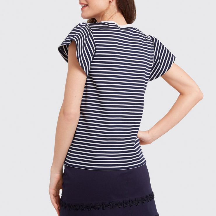 Stripe Flutter Sleeve Tee Shirt