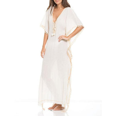 Lace-Up Neckline Maxi Cover Up One Size