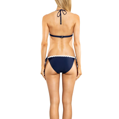 Navy Solid Scallop String Bikini Bottom