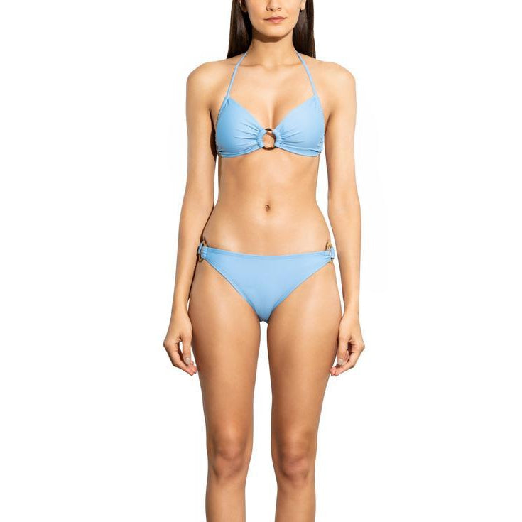 Steel Blue Solid Ring Bikini Bottom