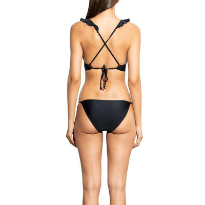 Solid Black Ruffle Clean Triangle Bikini Bottom