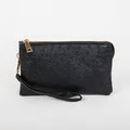 Ostrich Monogrammable 3 Compartment Wristlet Crossbody