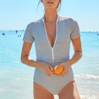 Sea Stripe Pierce Surf Suit One Piece