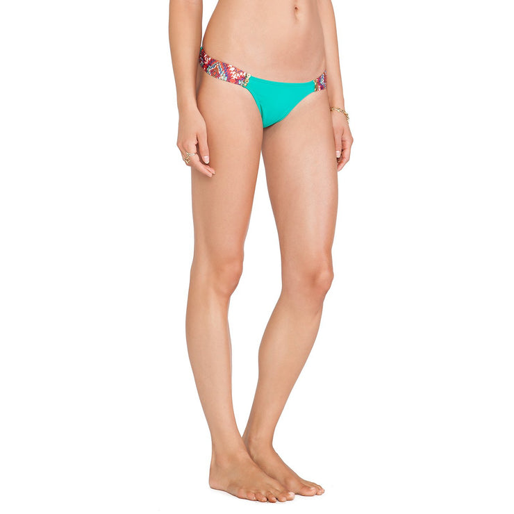 Lakai Embroidered Drape Full Bikini Bottom