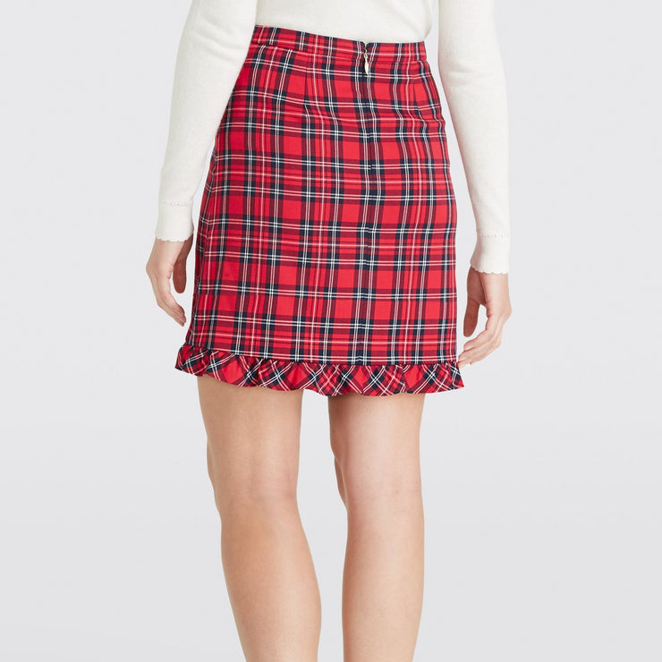 Plaid Ruffle Hem Skirt