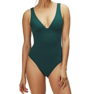 Solid V Neck Maillot One Piece