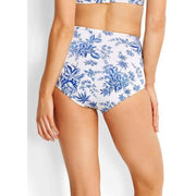 White and blue floral high waist bikini bottom