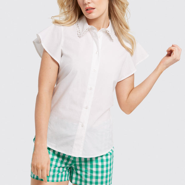 Flutter Sleeve Button Up Top