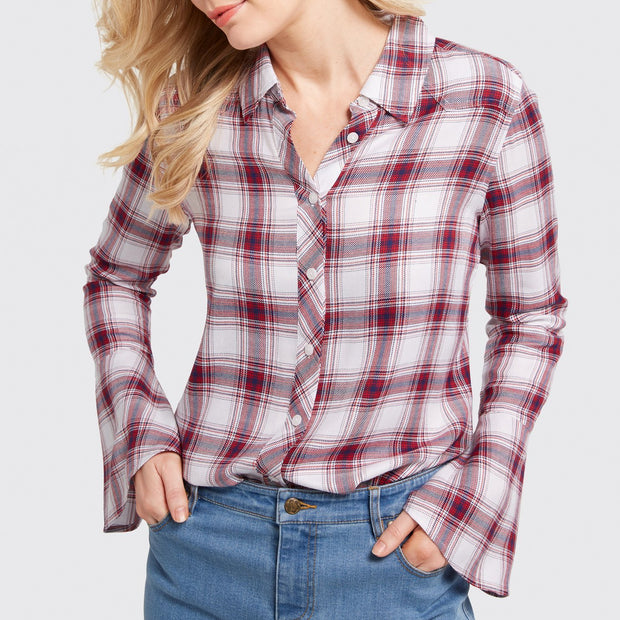 Bell Sleeve Plaid Button Up
