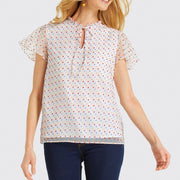 Swiss Dot Flutter Sleeve Top