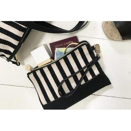 Black Stripe Tribeca Wristlet