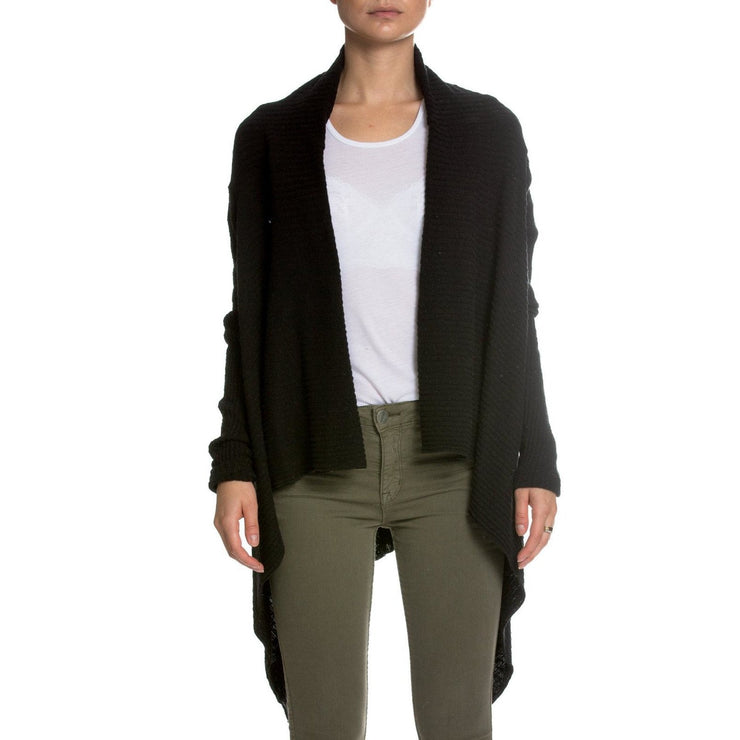 Textured Cardigan with Asymmetrical Hem