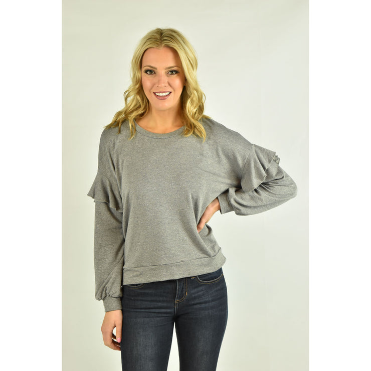 Long Sleeve Knit Top with Ruffle