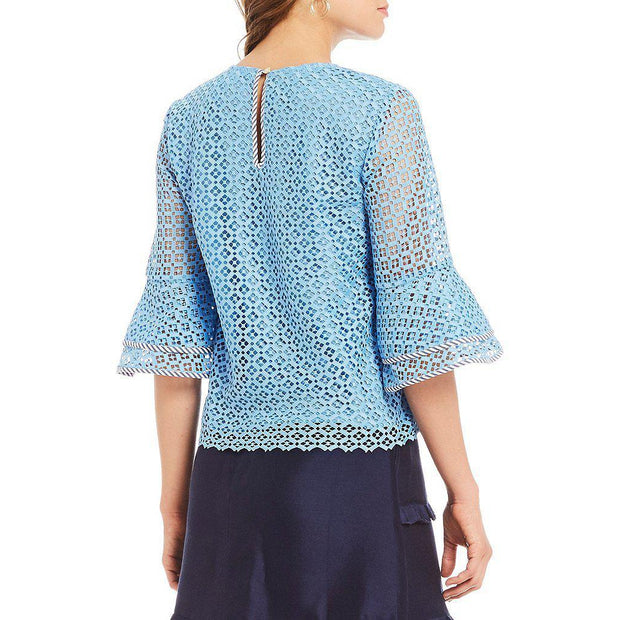 Lattice Double Bell Blouse Top
