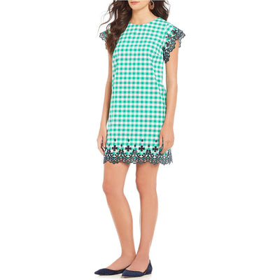 Dolly Check Eyelet Dress