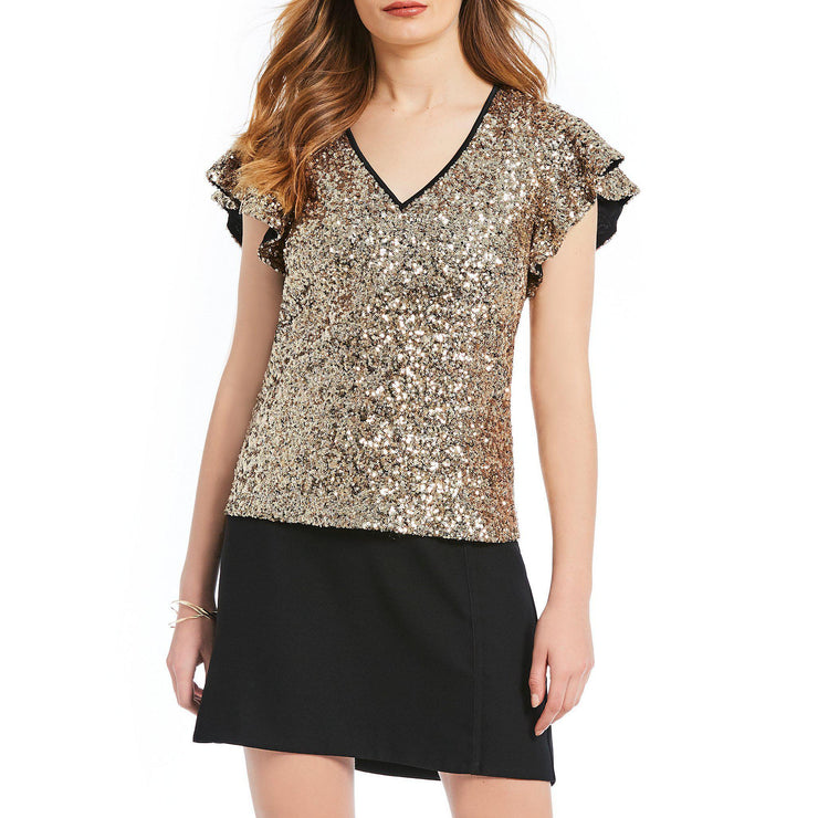 Collection Sequin Flutter Sleeve Top