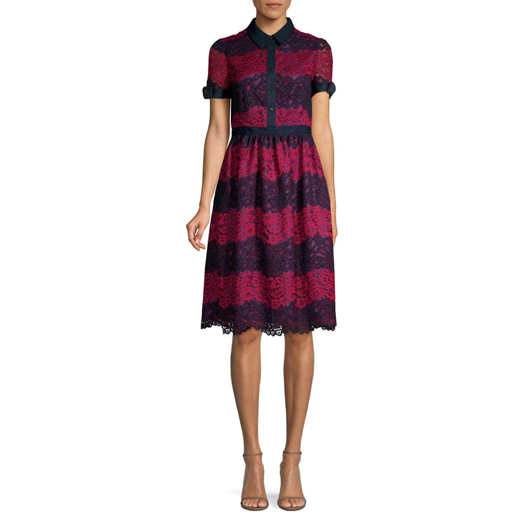 Stripe Lace Collection Polo Dress