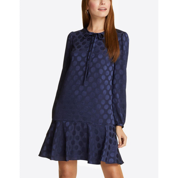 Tie Neck Flounce Shift Dress