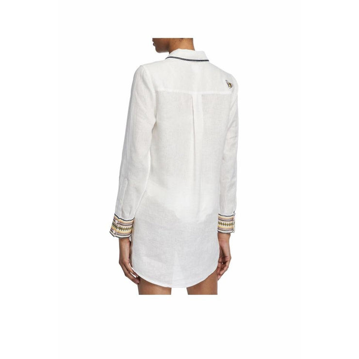 Linen beach shirt with embroidered trim