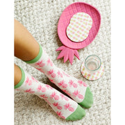 Pineapples Pink Crew Length Socks