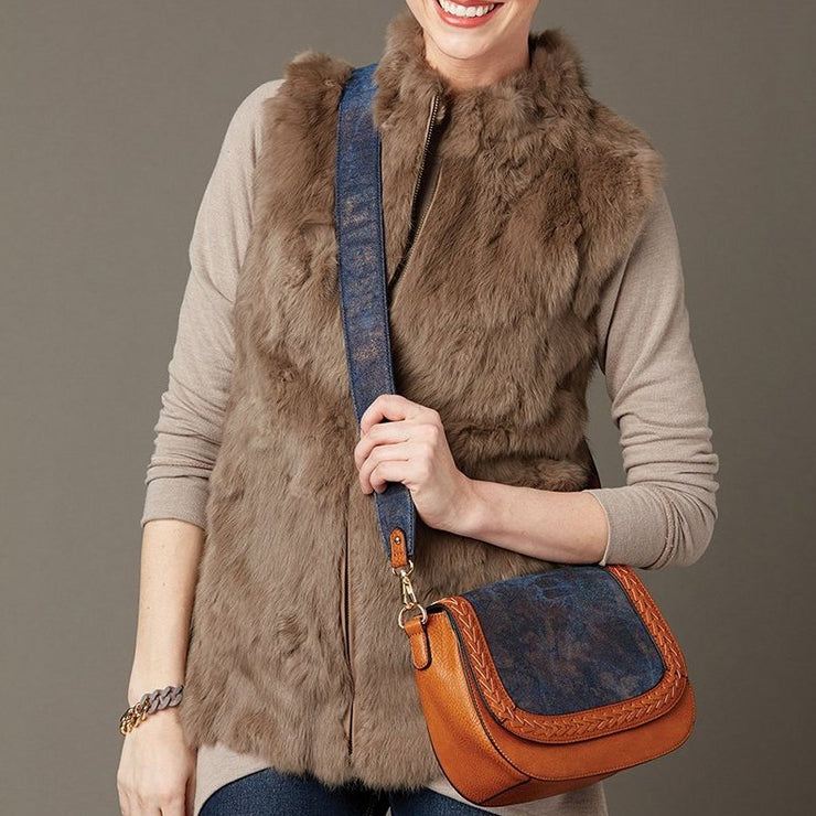 Minted Angora Fur Vest with Pockets