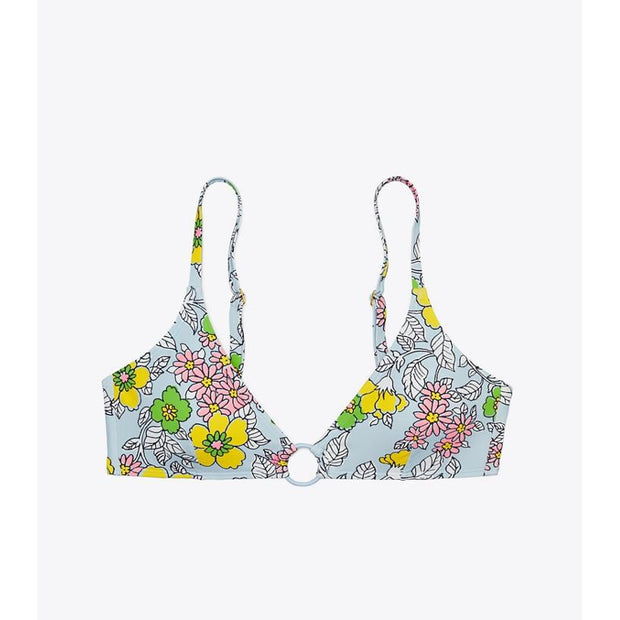 Wallpaper Floral Printed Ring Bikini Top