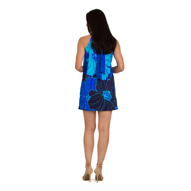 Print Halter Dress Cover Up with Neck Ties