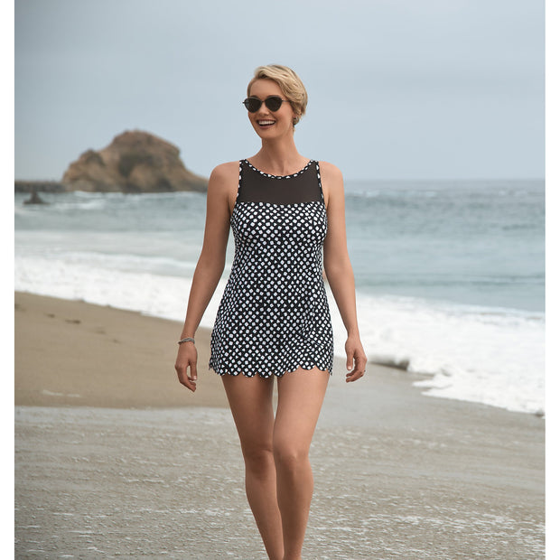 Angled High Neck Scallop Swimdress