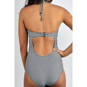 Gingham Jacquard Bra Halter One Piece