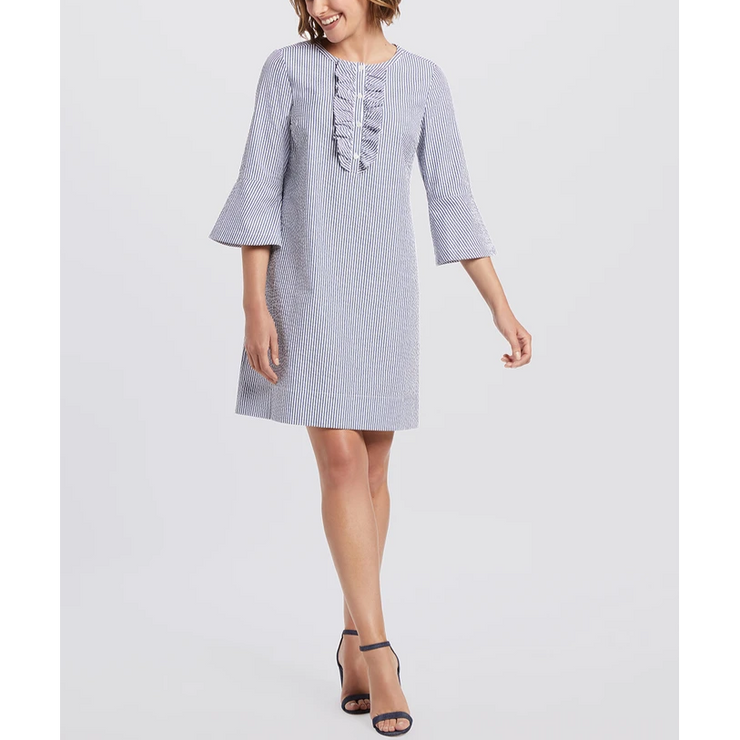 Seersucker Ruffle Shift Dress