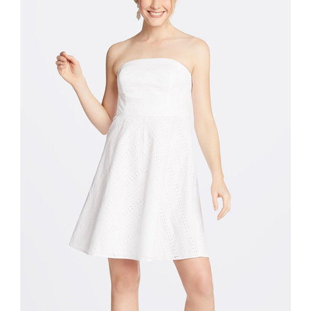 Striped Eyelet Strapless Dress