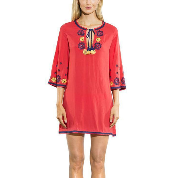 Floral Embroidery Tie Neck Tunic