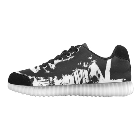 Black & White Abstract Light Up Casual Men's Shoes(Model 046)