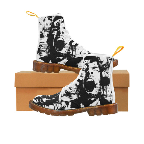 Dark Men Lace Up Canvas Boots