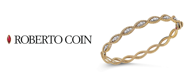 Roberto Coin Banner, links to roberto coin collection. Santa Fe Jewelry is there.